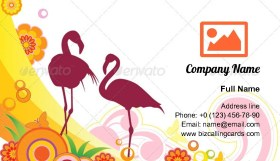 Flamingo and flowers Business Card Template