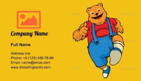 Cute smilling bear Business Card Template