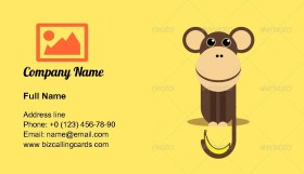 Monkey with Banana Business Card Template