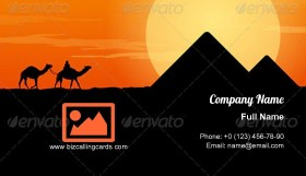 Camel Caravan and Pyramid Business Card Template