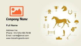 Horse Equipment Icons Business Card Template
