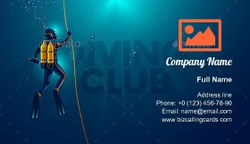 One Scuba Diver Underwater Business Card Template