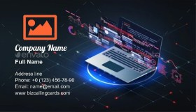 Application of Laptop with Graph Business Card Template