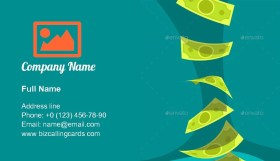 Flying Green Money Business Card Template
