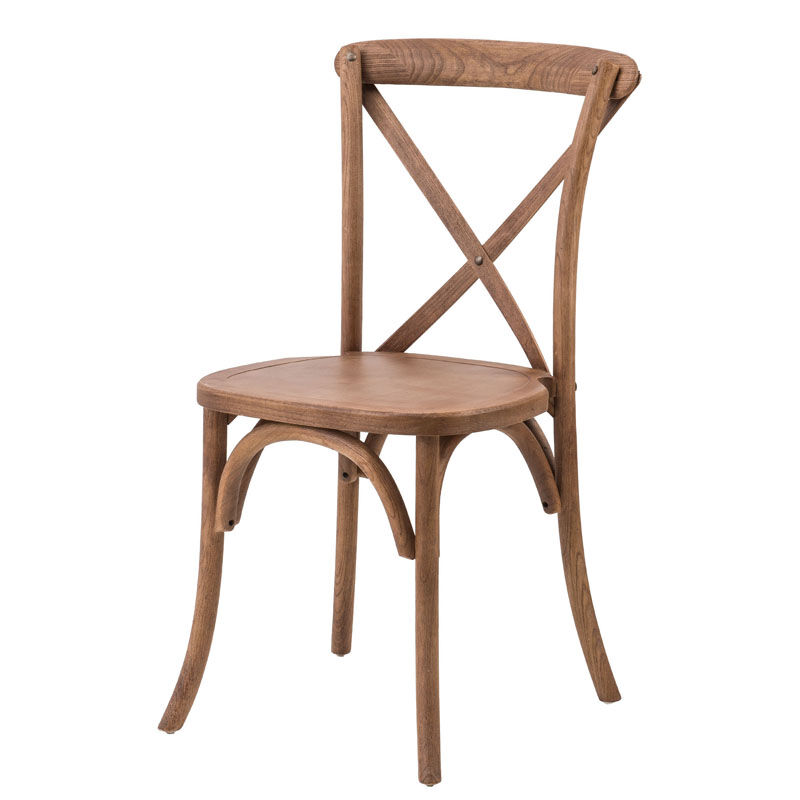 Rustic Sonoma Solid Wood Cross Back Stackable Dining Chair Antique Fruitwood