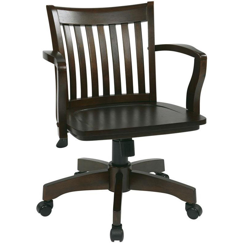 Osp Designs Deluxe Wood Banker S Chair With Wood Seat Espresso Wood