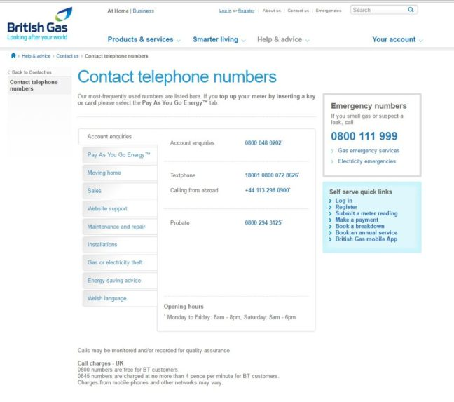 Screenshot of British gas contact page