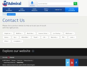 screenshot of admiral contact page