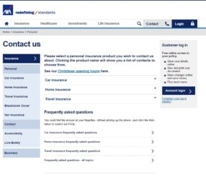 screenshot of AXA contact page