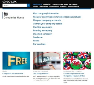 screenshot of companies house contact page