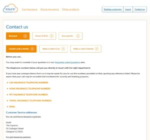 screenshot for esure contact page