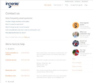 screenshot of the ingenie contact page
