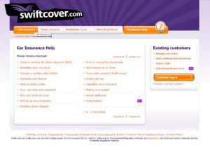 screenshot of swiftcover contact page