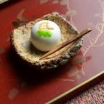 礫正方小皿 -上用饅頭 銀杏-