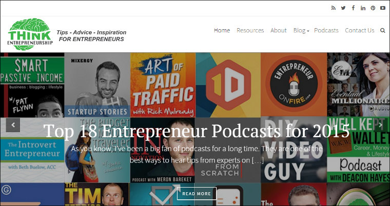 Think Entrepreneurship blog screenshot