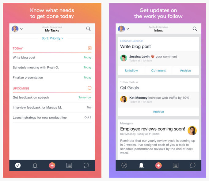 Asana app screenshot