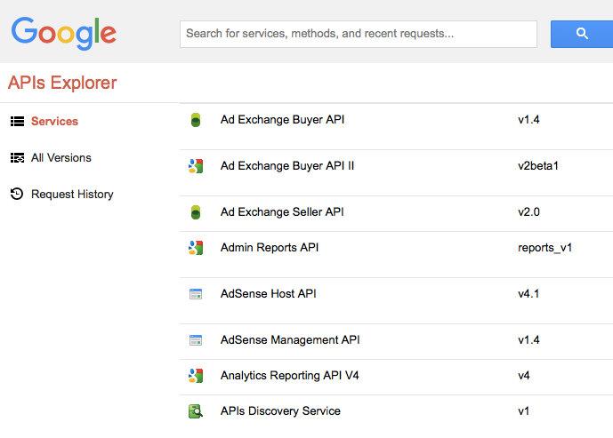 Google API explorer - screenshot
