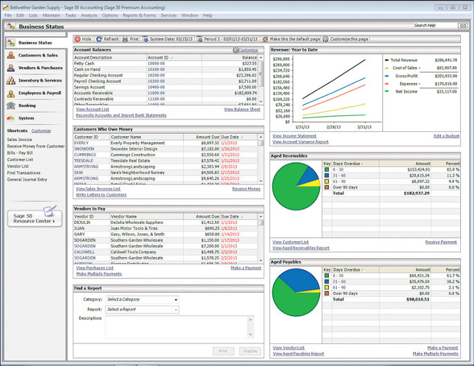 Sage 50 dashboard screenshot