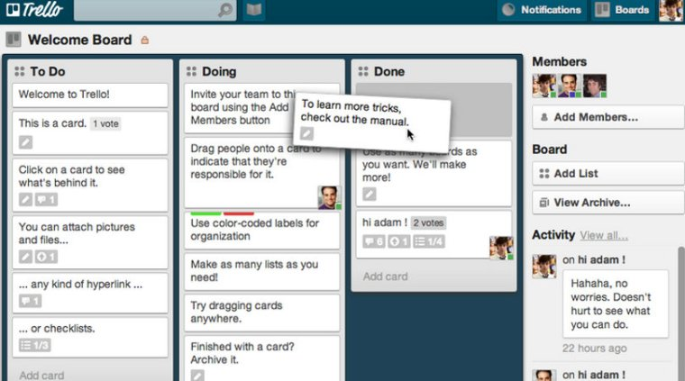 Trello dashboard screenshot