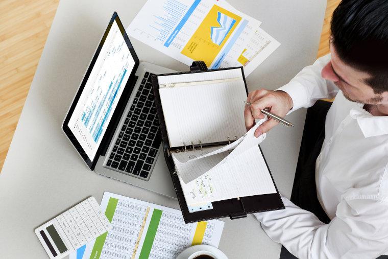 Businessman doing financial planning