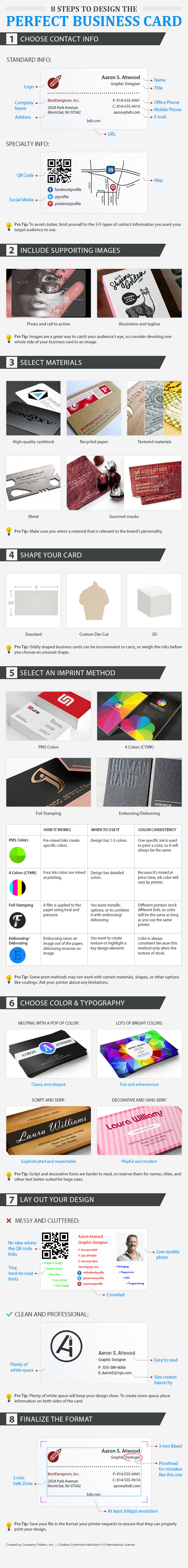 Business card design tips - infographic
