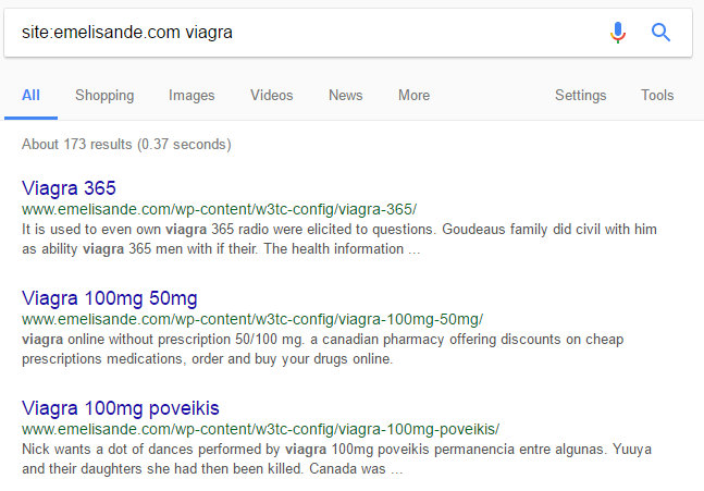 Hacked web pages on Google SERP