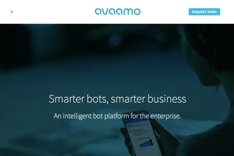 Avaamo chatbot startup - website