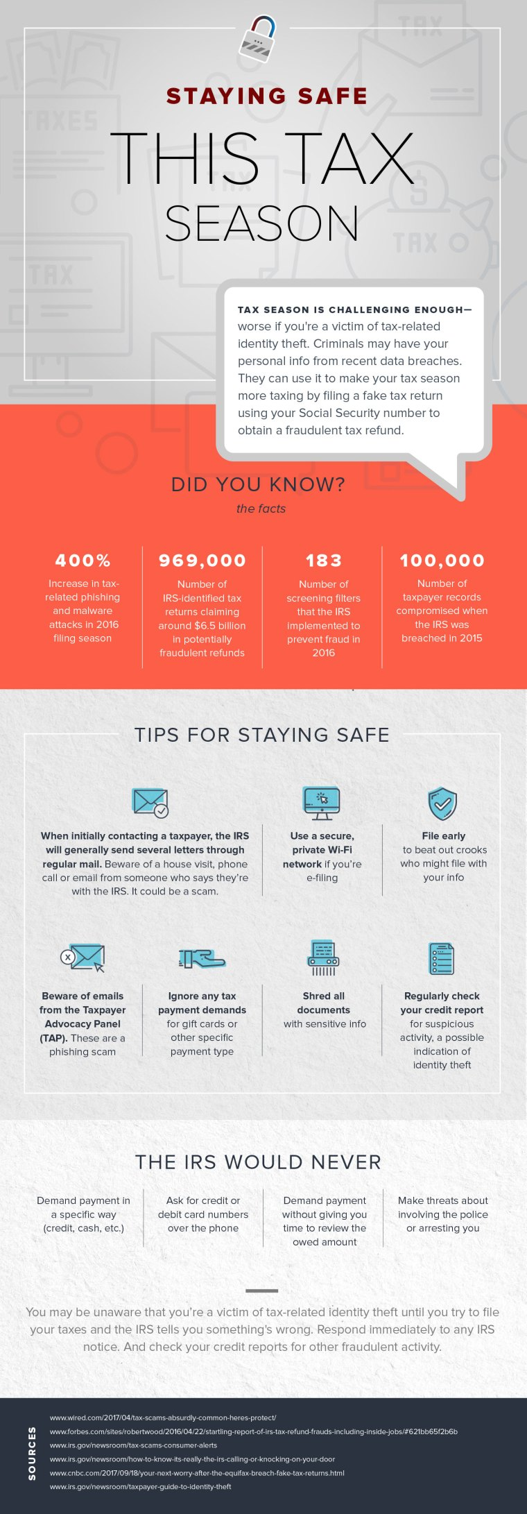 Staying safe during the tax season - infographic