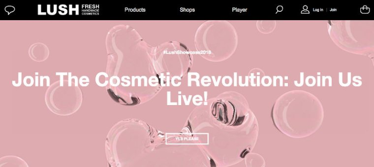 Lush website screenshot