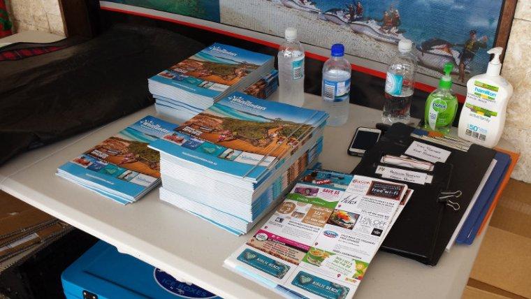 Brochures on a table