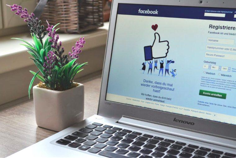 Facebook login page in laptop