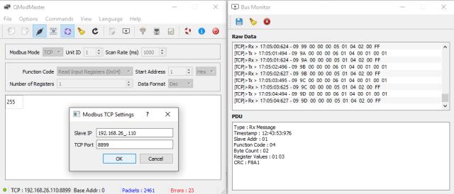 Настройки QModMaster Modbus TCP
