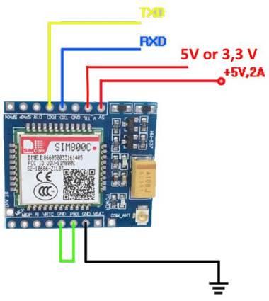 Схема подключения модуля SIM800C к ESP32