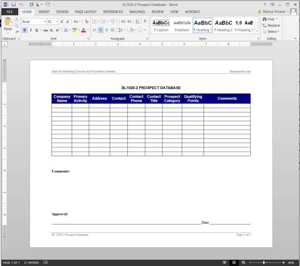 Prospect Database Template