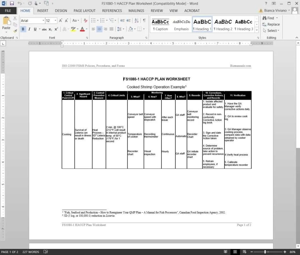Fsms Haccp Plan Worksheet Template