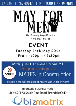 MAY FOR MEN EVENT – TODAY!