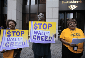 Bank protest