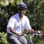 Obama rides a bike