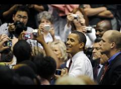 Obama with media