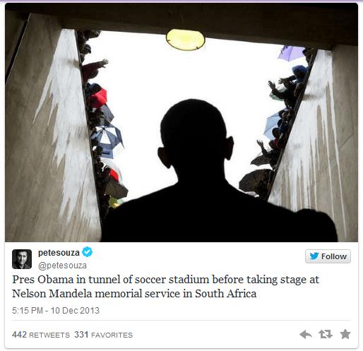 Obama in soccer stadium tunnel