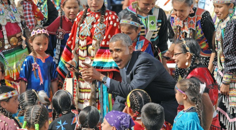Obama with Native American children