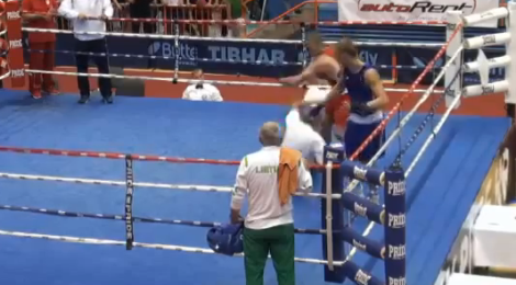 Crazy boxing match! Boxer beats on referee, opponent flees