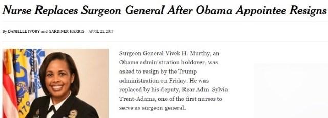 Trump fires Obama surgeon general vivek murthy, replaces her with black nurse sylvia trent adams