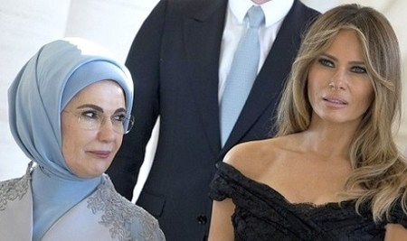 melania trump turkish first lady side eye NATO