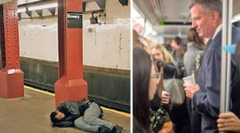 New York Mayor Bill de Blasio kicks homeless off subway