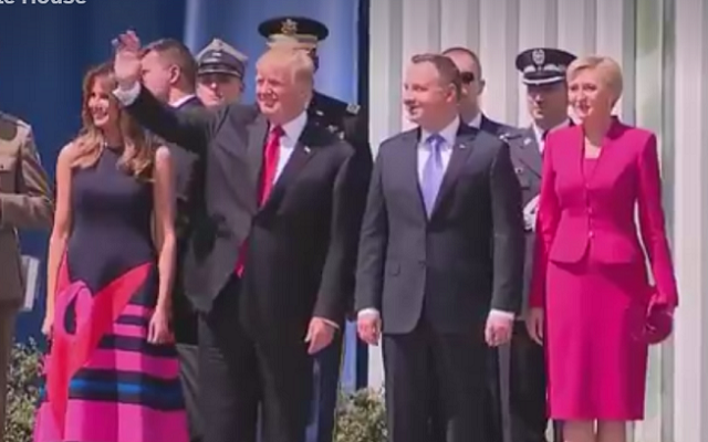 Trump snubbed by first lady of Poland in latest handshake fail