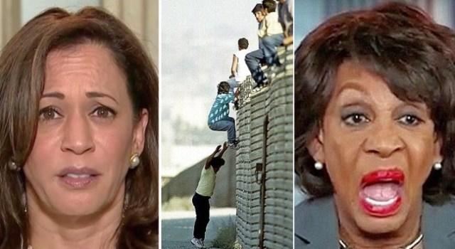 calexit kamala harris illegals climbing wall maxine waters