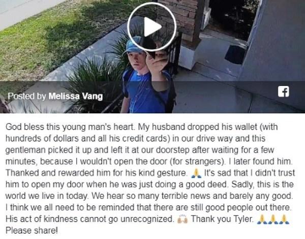 facebook tyler opdyke returned wallet Melissa Vang