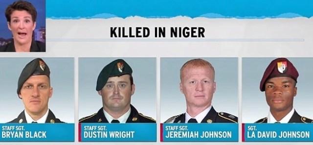 rachel maddow blames niger soldier deaths on trump travel ban