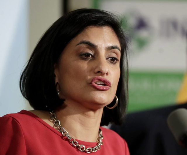FILE - In this Nov. 29, 2017 file photo, Seema Verma, administrator of the Centers for Medicare and Medicaid Services, speaks during a news conference in Newark, N.J. The Trump administration says it's offering a path for states that want to seek work requirements for Medicaid recipients, and that's a major policy shift toward low-income people. (AP Photo/Julio Cortez)